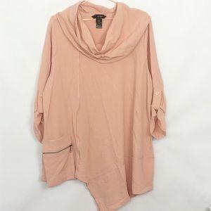 Ali Miles Asymmetric Zipper Pocket Cowl Neck Tunic Like New 1X Light pink/Peach